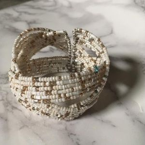 Ivory, taupe and grey beaded cuff bracelet